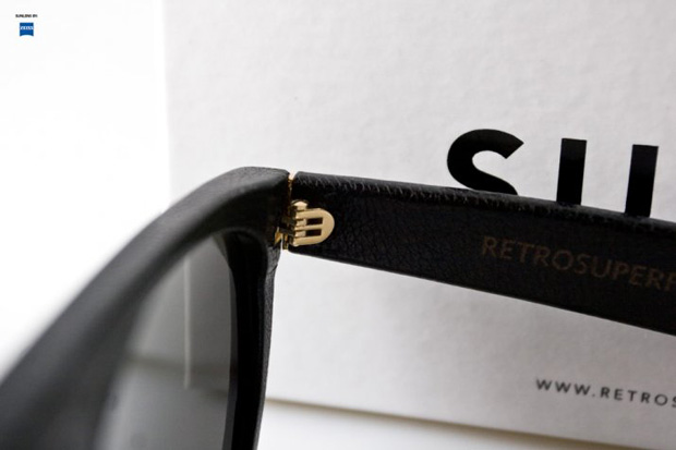 Super Flat Top Sunglasses Black Leather Super Flat Top Black Leather